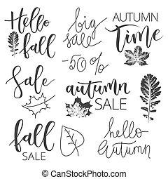 Autumn sale hand written inscription set - Autumn sale black...