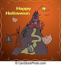 Invitation Card or poster of Happy Halloween holiday