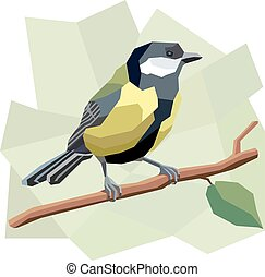 Illustration of great tit bird - Vector simple illustration...