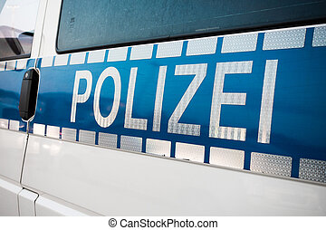 German police sign on the car - German police sign on the...