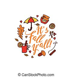 Hand drawn autumn elements with inscription - Hand drawn...
