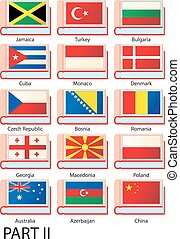 Several dictionaries with flags