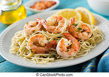 Shrimp Scampi with Spaghetti - A delicious plate of shrimp...