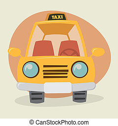 Cartoon Yellow Cab - front view