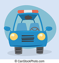 Cartoon Police car - front view