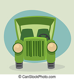 Cartoon Old Car - front view