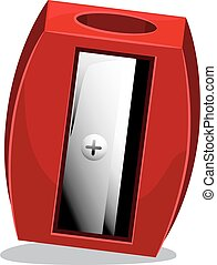 Red Pencil Sharpener - Vector Illustration of Red Pencil...