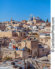 Roofs of Old City with Holy Sepulcher Church Dome,...