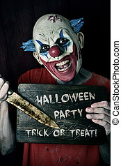 evil clown and text Halloween party trick or treat - a scary...