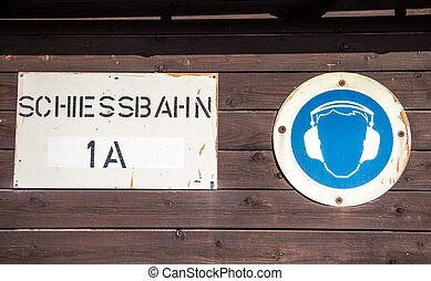 "german Schiessbahn "" shooting range"" sign with ear muff..."