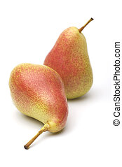 Two ripe yellow-red pears on a white background