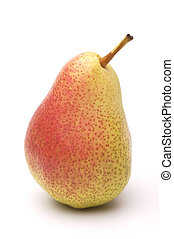Ripe yellow-red pear on a white background