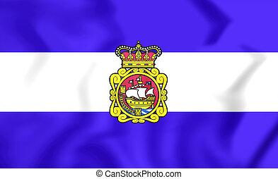 Flag of Aviles (Asturias), Spain. 3D Illustration.