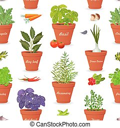 seamless texture with herbs planted in pots and fresh vegetables