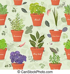 vintage seamless texture with herbs planted in pots and fresh sp