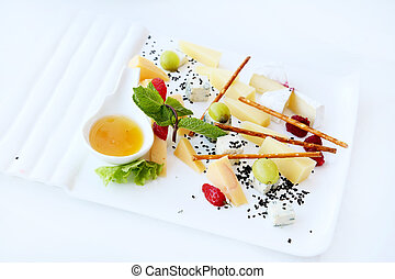 Cheese snacks on banquet table