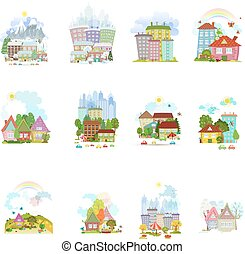big collection of isolated towns and villages in different...