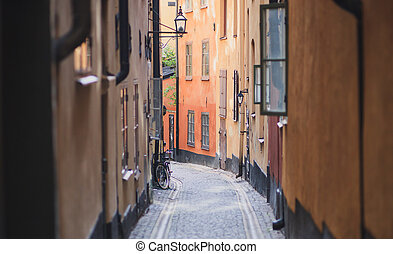 Beautiful view of Stockholm capital Gamla Stan old town,...
