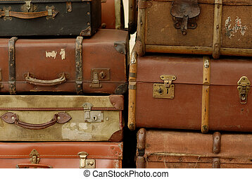 VIntage suitcases - Vintage suitcases stacked for loading