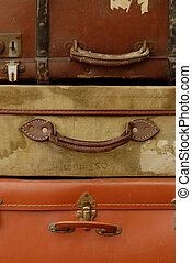 Vintage Suitcases - Old suitcases stacked up