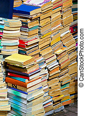 Books pile - Big pile of second hand and recycled books
