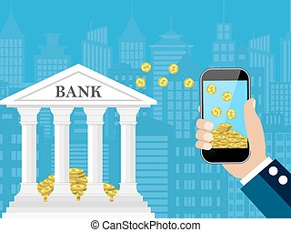 Hand holding mobile phone with gold coins