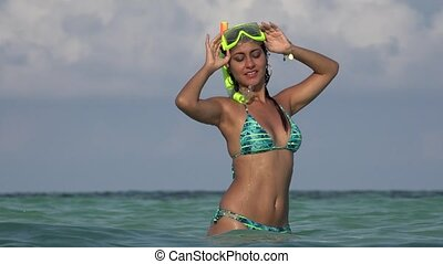 Pretty Smiling Woman Wearing Bikini And Snorkel