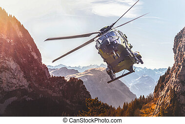 german military helicopter in flight