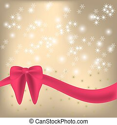 Shiny background  red ribbon and bow