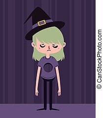 Sad Witch with Hole in Chest - Vector illustration of a...
