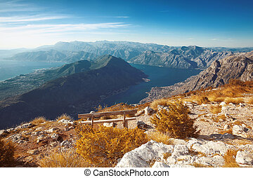 Kotor bay. Montenegro. Landscape. Bench above of mountain...