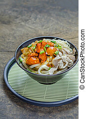 Korean hot spicy noodles with kimchi and seafood