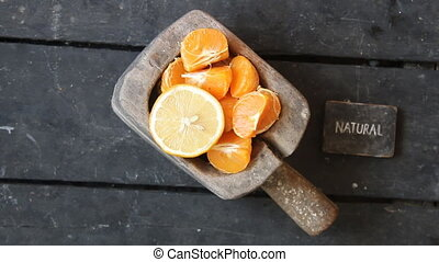 natural product idea, vintage style - slices of mandarin,...