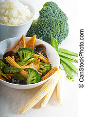 tofu beancurd and vegetables - fresh and healthy...