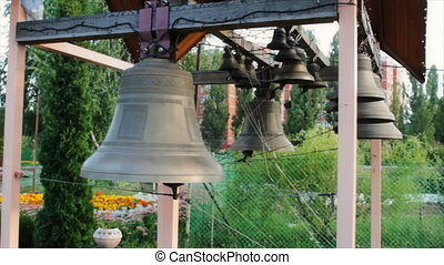Bells on church bellfry - beautiful bells on church bellfry