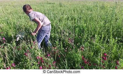 Teenager boy lying in the grass and rests. High dense grass grown on a meadow.