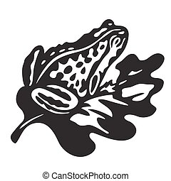 black frog - vector illustration