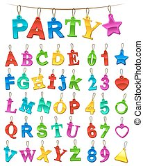 Complete festive alphabet and numbers set with blank labels...