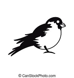 Bullfinch icon in simple style - icon in flat style on a...