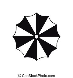 Striped umbrella icon, simple style - icon in flat style on...