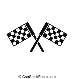Crossed chequered flags icon, simple style - Crossed...