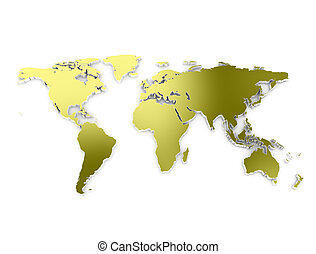World map 3d gold