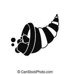 Thanksgiving cornucopia icon, simple style - Thanksgiving...