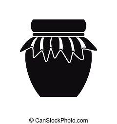 Jam in glass jar icon, simple style - Jam in glass jar icon...