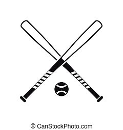 Crossed baseball bats and ball icon, simple style - Crossed...