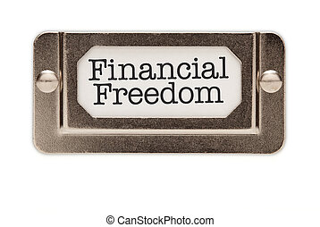 Financial Freedom File Drawer Label Isolated on a White...