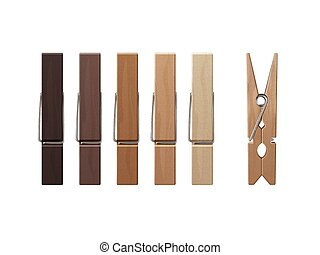 Vector Set of Wooden Clothespins Pegs of Different Color...