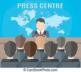 Press conference, world live tv news, interview. journalists...