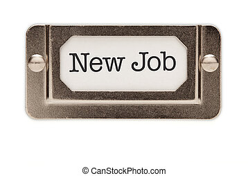 New Job File Drawer Label Isolated on a White Background.