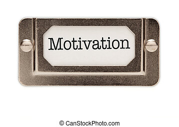Motivation File Drawer Label Isolated on a White Background.